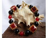 Red and Black Porcelain and Black Stone Bracelet