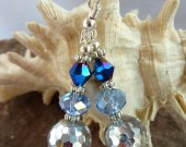 Indigo Blue & Clear Crystal Dangle Earrings