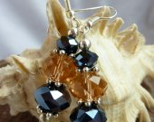 Peach Apricot and Black Blue Dangling Crystal Earrings