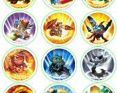 Skylanders Set of 12 2.5 Inch Round Personalized Stickers or Cupcake Toppers-Set 2