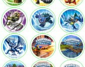 Skylanders Set of 12 2.5 Inch Round Personalized Stickers or Cupcake Toppers-Set 3
