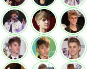 Justin Bieber Set of 12 2.5 Inch Round Personalized Stickers or Cupcake Toppers-Set 1
