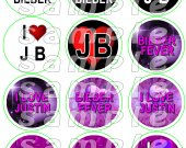 Justin Bieber Set of 12 2.5 Inch Round Personalized Stickers or Cupcake Toppers-Set 2