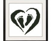 ALL STITCHES - Heart Footprints Cross Stitch Pattern .PDF -447