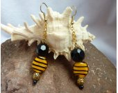 Tiger Animal Print Lampwork Glass & Black Crystal Dangling Earrings