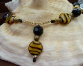 Tiger Animal Print Lampwork Glass & Black Crystal Pendant Necklace