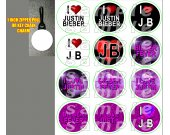 Justin Bieber Set of 12 Zipper Pulls - Make Great Party Favors - Set 2
