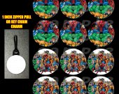 Marvel Comics Set of 12 Zipper Pulls - Make Great Party Favors