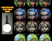Monster High Set of 12 Zipper Pulls - Make Great Party Favors