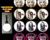 Monster High Set of 12 Zipper Pulls - Make Great Party Favors - Set 2