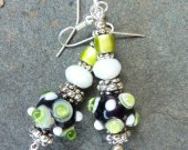 Dark Blue, Green, White Polka Dot Bumpy Lampwork Glass Beads and Crystal Earrings