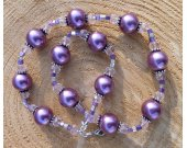 Purple Metallic Glass Pearl with Pink Crystal Necklace