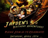 Lego Indiana jones Custom Birthday Party Invitation- printable