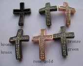 bronze rose gold mixed color cyrstal sideways crosses pendant focal 27x40mm 100pcs