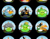 Boy Angry Birds Set of 12 2.5-Inch Round Personalized Stickers or Cupcake Toppers