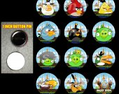 Boy Angry Birds Set of 12 1-Inch Buttons Make Great Party Favors