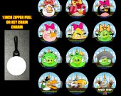 Girl Angry Birds Set of 12 Zipper Pulls Make Great Party Favors