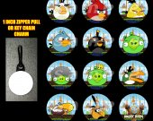 Boy Angry Birds Set of 12 Zipper Pulls Make Great Party Favors