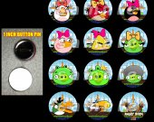 Girl Angry Birds Set of 12 1-Inch Buttons Make Great Party Favors