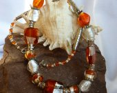 Tangerine Orange and White Foil Glass on Silver Murano Style Necklace