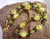 Yellow Lime Crackle Glass and Navy Blue Crystal on Gold Necklace