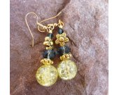 Yellow Lime Crackle Glass and Navy Blue Crystal on Gold Earrings