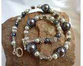 All Shades Of Grey Glass Pearl Crystal and Silver Necklace