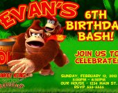 Donkey Kong Birthday Party Invitations, Supplies, and Favors