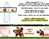 Donkey Kong Country Water Bottle Labels - PRINTED FOR YOU - Birthday Party Supplies Favors