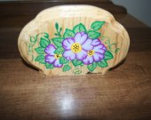 This napkin holder is made of real wood it is pine wood folk art,