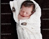 Photo prop White  Knit  100% cotton Baby Button- Up Cocoon Pod Sac - button maybe different