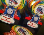 12 Thomas the Train Personalzied Giant Swirl Pops with Personalized Train Stand Favor Centerpiece