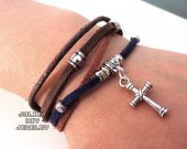 Leather silver cross bracelet
