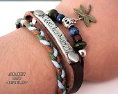Dragonfly and sanskrit multi-strand  hemp woven leather zen bracelet