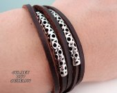 Silver tube leather bracelet, Metropoles