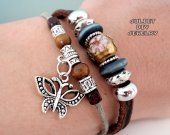 Silver butterfly charm leather bracelet with beautiful cloisonn center bead