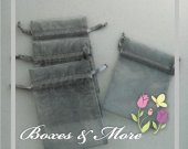 Silver Organza Bags - Set of 100 Bags - 4x6inch