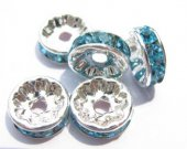 high quality rondelle abacus silver spacers bead with blue royal  rhinestone findings 10mm 200pcs