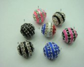 bulk handmade ball round assortment metal spacers with czech rhinestone findings 12mm 100pcs