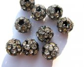 bulk handmade ball round black silver gold pave metal spacers with czech rhinestone findings 12mm 100pcs
