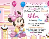 Baby Minnie Mouse Birthday Party Invitations, Supplies, and Favors