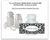 120 BUBBLE BOTTLE FAVOR Labels - Black & White DAMASK ONLY - 3 Designs U Choose - Matches My Water Bottle Labels