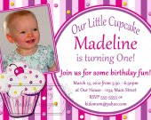 Lil Little Cupcake Birthday Party Baby Shower Invitations, Supplies, and Favors