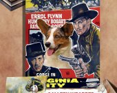 Welsh Corgi Cardigan Art - Virginia City Movie Poster Canvas Print