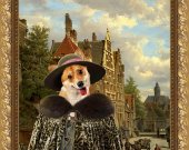Welsh Corgi Pembroke Fine Art Canvas Print - Dutch town scene with lady