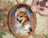Welsh Corgi Pembroke Jewelry Pendant Necklace Handcrafted Ceramic - Dame