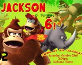 Donkey Kong Personalized Custom Birthday Party Invitation You Print (1)