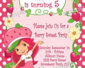 Strawberry Shortcake  Birthday Invitation You Print (1)