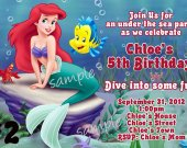 Disney Princess Ariel Little Mermaid Birthday Invitation You Print (2)