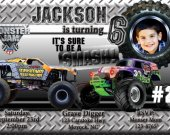 20 Printed Monster Truck Jam Grave Digger Destruction Photo Birthday Party Invitation Personalized (with Envelopes)